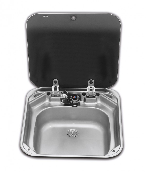 Smev Basin & Mixer Tap Flush Mt C/W Glass Lid 420x440x145MM. 9102300028/VA800600070/006063 - Click to enlarge picture.
